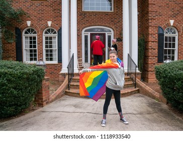 Winston-Salem, NC/US - 03/10/2018: Teen LGBTQ rights activist canvassing with the Jenny Marshall campaign.