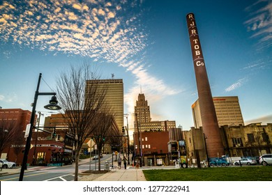 Winston-Salem, NC/USA - January 6 2018: view on Winston-Salem Bailey Power plant with the downtown on the background.