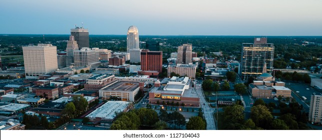 Winston-Salem North Carolina downtown city skyline illuminated at dusk