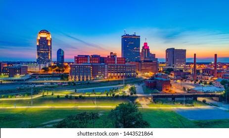 Winston-Salem North Carolina Downtown Skyline Aerial at Sunset.
