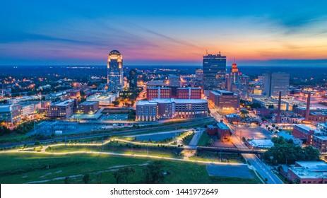 Winston-Salem North Carolina NC Skyline Aerial.