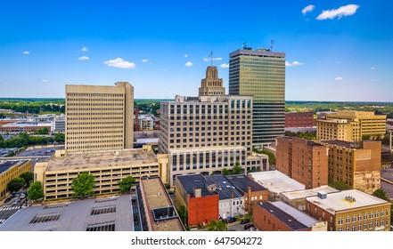 Winston-Salem, North Carolina, USA skyline from above.