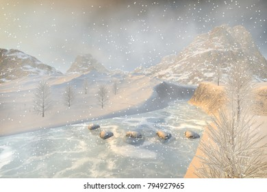 Winter, 3D rendering, a snowy landscape, a frozen river, stones, trees and a foggy background.