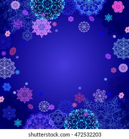 Winter abstract design with pink, blue and white snowflakes and stars and dark blue background. Text place. Vintage illustration.