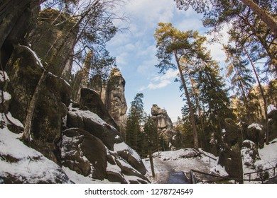 winter Adrspach Rocks, protected area czech republic