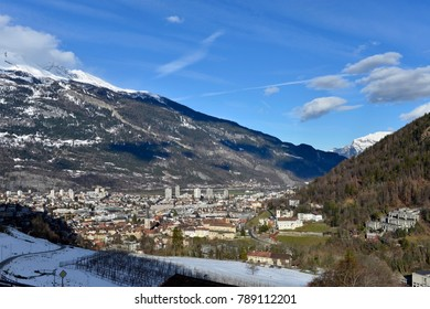 winter aerial cityscape of Chur historical town,  Garabaunden, Switzerland