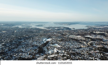 Winter aerial landscape of Oslo city in Norway