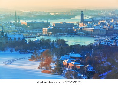 Winter aerial scenery of the Old Town (Gamla Stan) in Stockholm, Sweden