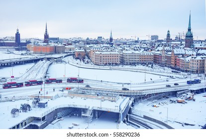 Winter aerial view from the observation platform of the Old Town (Gamla Stan) in Stockholm, Sweden