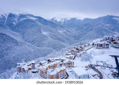 Winter aerial view of the Ski Resort Rosa Khutor. A complex of hotels on the site of the former Olympic village of Rosa Plateau at an altitude of 1170 m from sea level. Krasnaya Polyana, Sochi, Russia