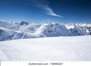 Winter at the Allgaeu, panoramic view from ski resort Nebelhorn