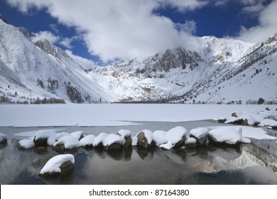 Winter at an alpine lake in eastern Sierra Nevada mountains of California