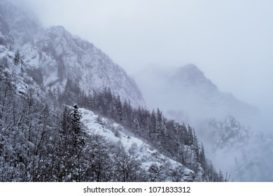 winter alpine landscape, slovenia.