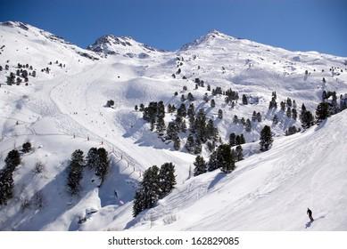 winter alpine ski resort view, Courchevel, France