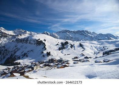 Winter alpine ski resort view, Avoriaz, France. March 2015