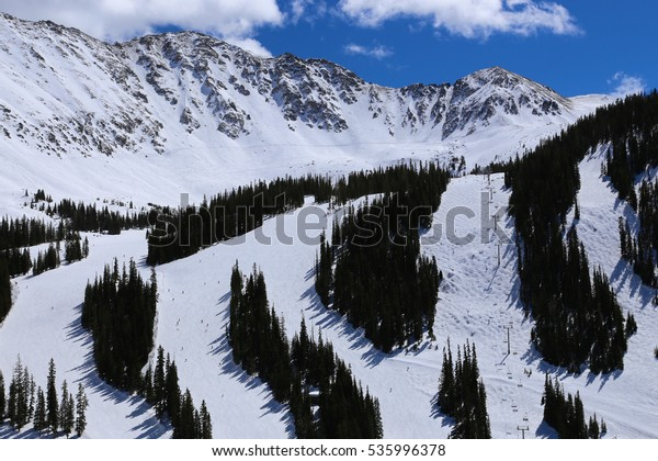 Winter Alpine Ski Slopes in the Colorado Rocky Mountains Arapahoe Basin and Continental Divide