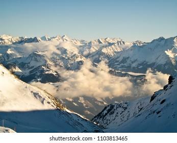 winter in the Alps, Kaltenbach ski resort in Zillertal valley, Austria