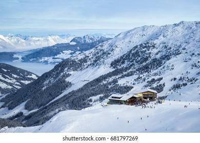 winter in Alps, Kaltenbach ski resort in Zillertal valley