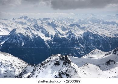Winter Alps landscape from ski resort Val Thorens. 3 valleys