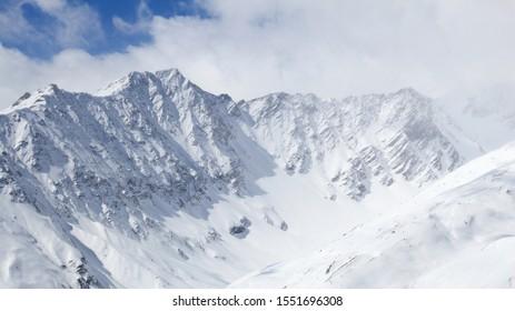 Winter Alps - Massif des Cerces mountain range in Rhone-Alpes region of France. European snow.