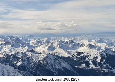 Winter alps mountain range aerial view