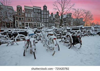 Winter in Amsterdam in the Netherlands at sunset