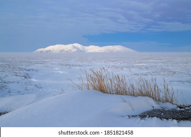 Winter Arctic landscape. View of the snow-covered tundra and mountains. Cold and windy winter weather. Harsh polar climate. Nature of Chukotka and Siberia. Anadyr tundra, Chukotka, Far East of Russia.
