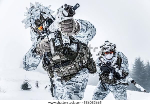 Зимние арктические горы войны. Действие в холодных условиях. Пара спецназа оружия в лесу где-то над Полярным кругом, низкий угол обзора