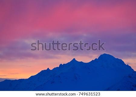 Floating In Twilight Winter Haze Like >> Winter Arctic White Snowy Mountain Blue Stock Photo Edit Now