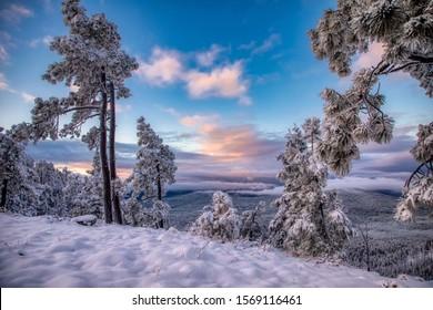Winter arrives along the Mogollon Rim in Arizona.