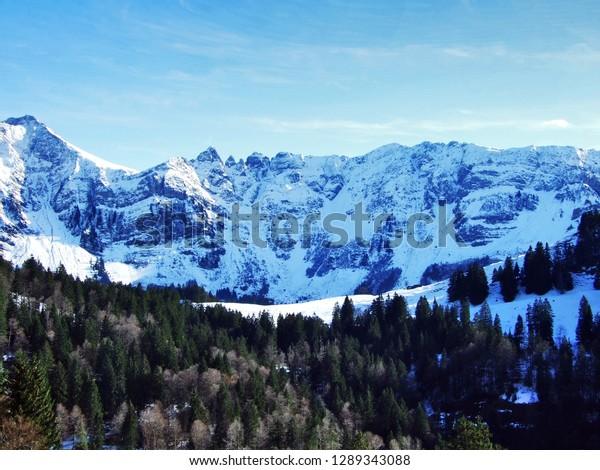 Winter Atmosphere On Alpstein Mountain Range Stock Photo