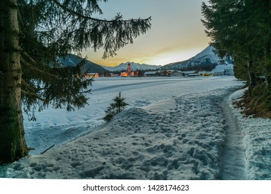 Winter atmospheric picture around Leutasch, municipality in the northern part of the district Innsbruck-Land in the Austrian state of Tyrol about 10 km northwest of Seefeld.