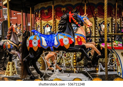 """Winter attraction at the red square in Moscow. Musical carousel """"Horse""""."""