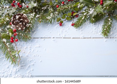 winter background - blue woodboard