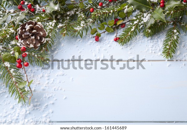 winter background - blue woodboard