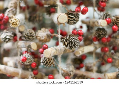 Winter background of the Christmas decorations.Soft focus