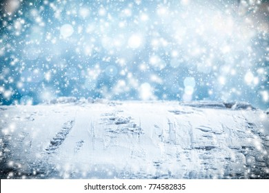 Winter background with free space for your decoration and snow with frost
