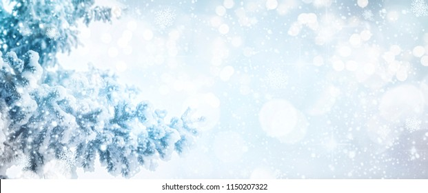 Winter background.  Holiday glowing backdrop. Defocused Background With Blinking Stars. Blurred Bokeh.