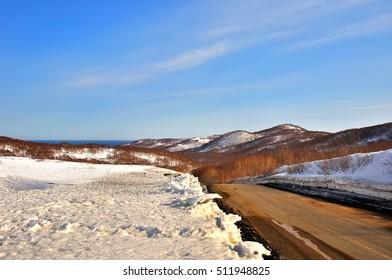Winter background, landscape. Winter scene.