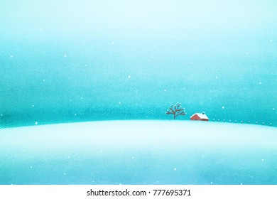 Winter background with a peaceful village in a snowy landscape. Christmas pastel drawing.