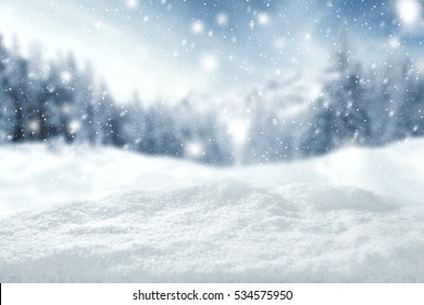 winter background of snow and free space