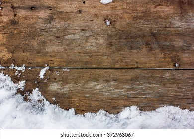 winter background with snow, wood