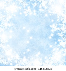 Winter background with some soft highlights and snow flakes