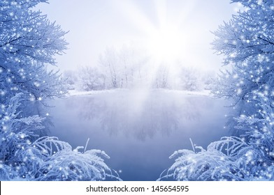 Winter background with trees in frost and snow