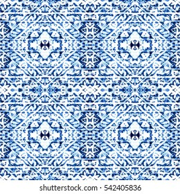 Winter Background. Watercolor Hand Painted Blue Indigo Boho Pattern. Winter Seamless Pattern. Repeating Hand Drawn Ornament. Tribal Snowflak Art Print. Fabric Cloth Swimwear Design Wallpaper Wrapping