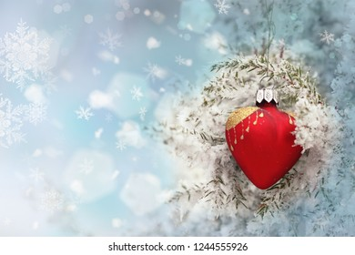Winter background.Merry Christmas and happy New Year greeting card with copy-space.Christmas tree with decorations.