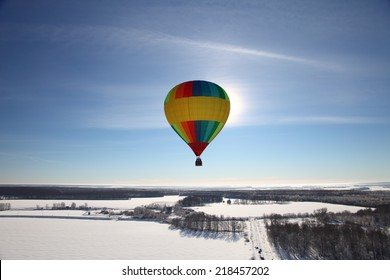 Winter baloon flying sunny day.