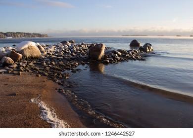 Winter Baltic Sea landscape in a sunny day