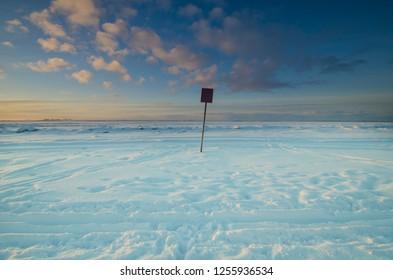 Winter bank of the river. Arkhangelsk, Northern Dvina