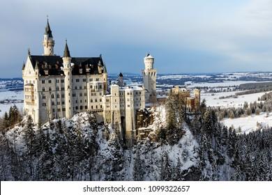 Winter in Bavaria - Schwangau - Neuschwanstein Castle.Winter in Bayern - Schwangau - Schloss Neuschwanstein.